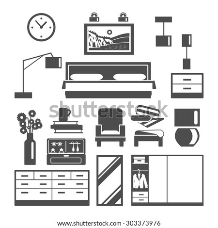 Bedroom furniture black white icons set with armchair bed and wardrobe flat isolated vector illustration  - stock vector