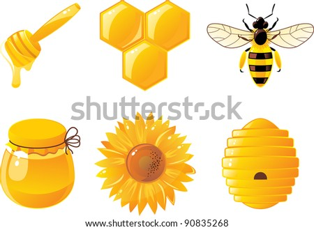 6 bee and honey icons - stock vector
