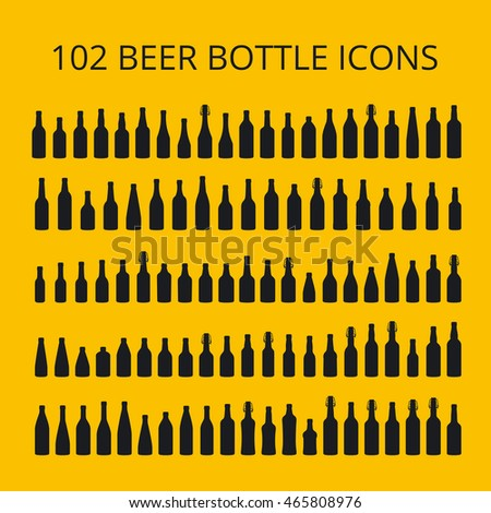 102 beer bottle icons set. All types of beer bottles.