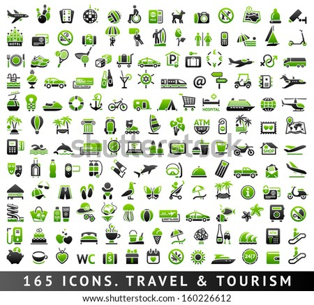 165 bicolor (green and gray) icons. Travel and Tourism, vector illustrations
