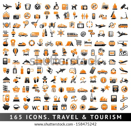165 bicolor (orange and gray) icons. Travel and Tourism - stock vector