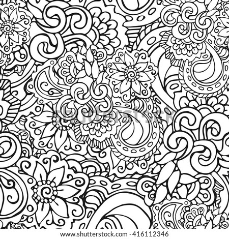 Bicolour black and white seamless pattern in doodle style. Hand-drawn elegant vector ornament. - stock vector
