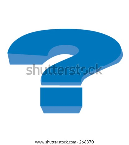 Big Blue illustrated question mark. - stock vector