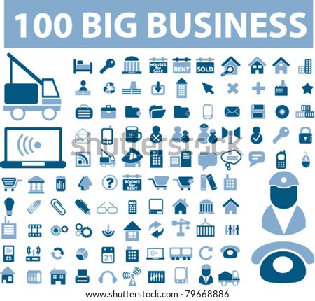 100 big business icons, signs, vector - stock vector