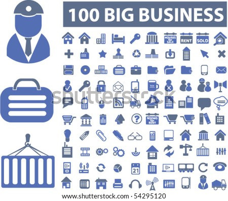 100 big business signs. vector - stock vector