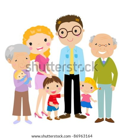 Big cartoon family with parents, children and grandparents, vector illustration - stock vector