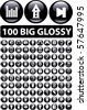 100 big glossy buttons. vector - stock