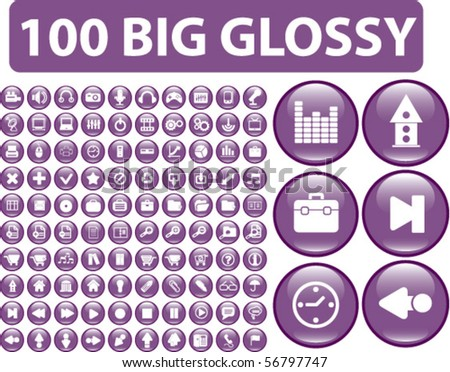 100 big glossy buttons. vector - stock vector