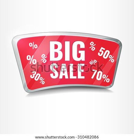 Big Sale tag,  red promotion icon button. Vector Illustration. - stock vector