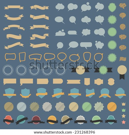 Big set of design elements and speech bubbles in retro colors. Vector collection - stock vector