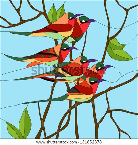 Bird Happiness Stained Glass Window Stock Vector 131852378