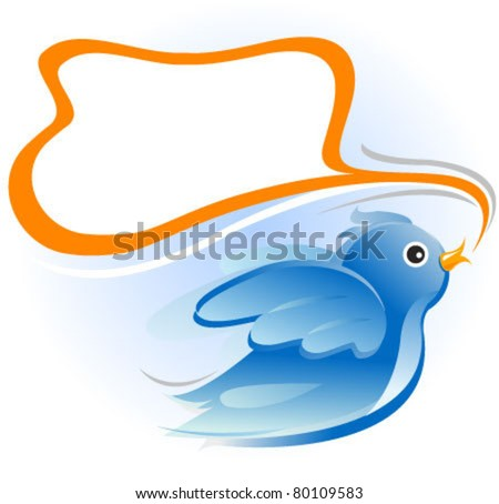 bird with blank message balloon - stock vector