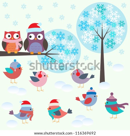 Birds and owls in winter forest .Vector set - stock vector