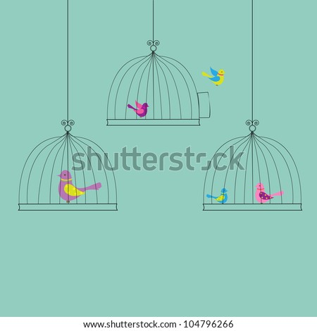 6 Birds in Cage, Isolated On Vintage Background, Vector Illustration