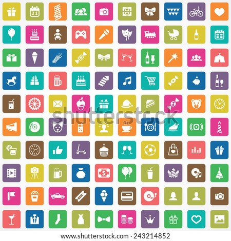 100 birthday icons big universal set  - stock vector