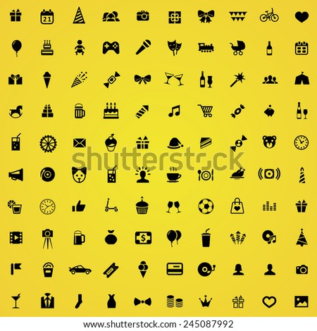 100 birthday icons, black on yellow background  - stock vector