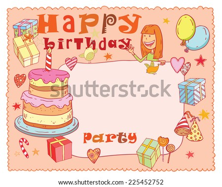 Birthday party design card, vector illustration. - stock vector
