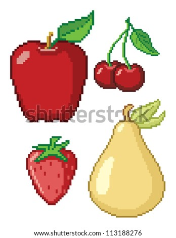 8-Bit Fruit Icons. These are four vector graphics of fruit (Apple, Cherries, Pear, and Strawberry) in a retro 8-bit video game style. This is a .eps 10 file, and no transparencies were use. - stock vector