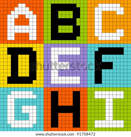 Bit Pixel Alphabet Letters Set 1: ABC DEF GHI - stock vector