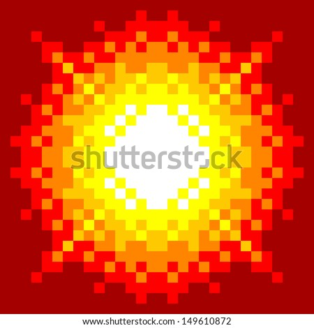 8-Bit Pixel-art Explosion on a Red Background - stock vector