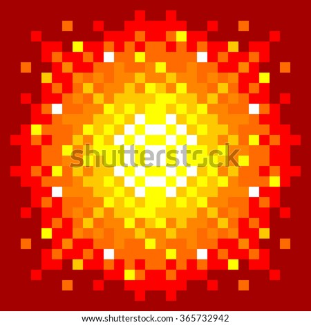 8-Bit Pixel-art Fiery Explosion on a Red Background. EPS8 vector - stock vector