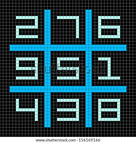 8-bit Pixel Art Magic Square with Numbers 1-9 - stock vector