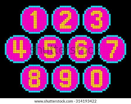 8-Bit Pixel Art Numbers in Circles. EPS8 Vector - stock vector