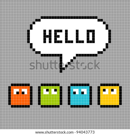 8-bit Pixel Characters Say Hello - stock vector