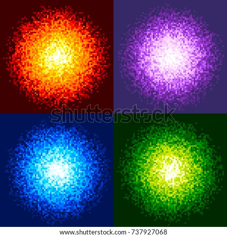 8-Bit Pixel Fireball Vector. Red, Purple, Blue and Green