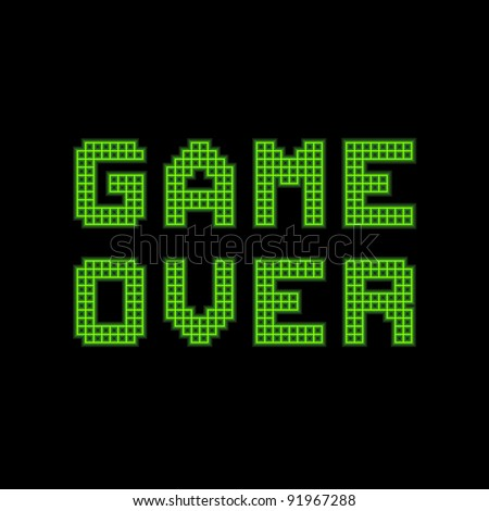 8-bit Pixel Game Over Message - stock vector