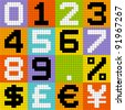 8-bit Pixel Numbers 0-9 and Currencies - stock vector