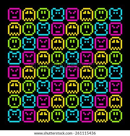8-Bit Pixel Retro Rainbow Character Pattern. EPS8 Vector - stock vector