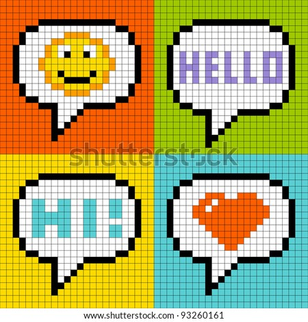 8-bit Pixel Social Networking Speech Bubbles: Smiley, Hello, Hi, Love - stock vector