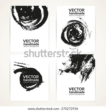 Black and white brush texture hand drawing on  banner set - stock vector