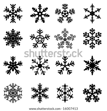Snowflakes Icons Shadow On Black White Stock Vector ...