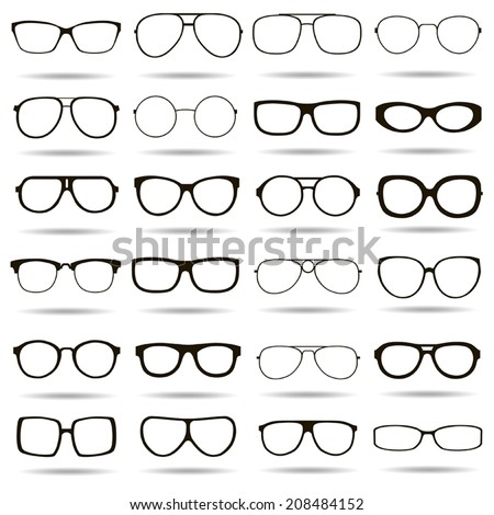 24 black and white vector icons highly detailed glasses - stock vector