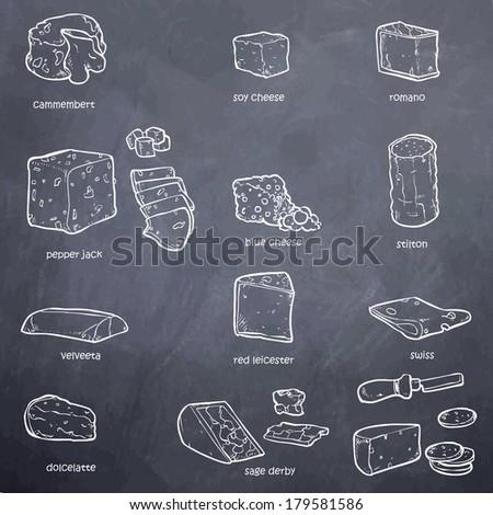 black and white vector set of random ingredients - stock vector