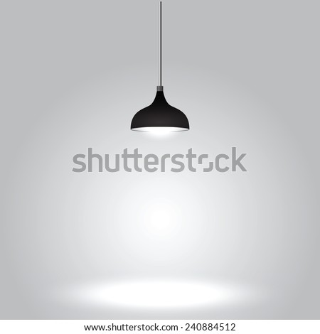Black ceiling lamp on gray background, VECTOR, EPS10 - stock vector