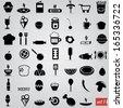 black food icons set  - stock