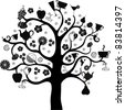 black food tree isolated on white background. Vector illustration - stock vector