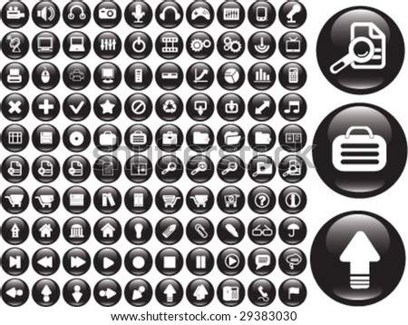 100 black glossy circle buttons.vector - stock vector