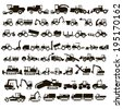 50 black icons tractors and construction equipment on white background - stock