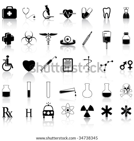 35 Black medical icons - stock vector