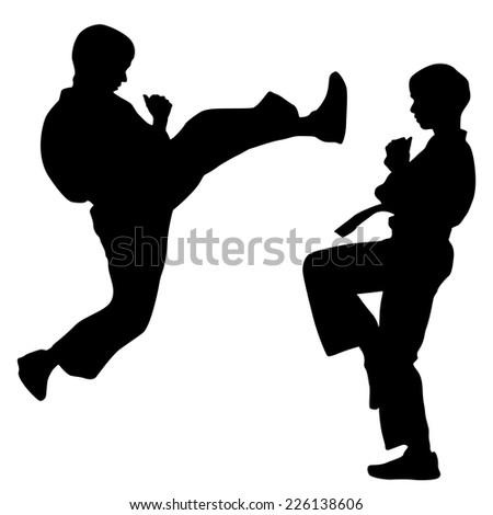 black silhouettes of karate. Sport vector illustration. - stock vector