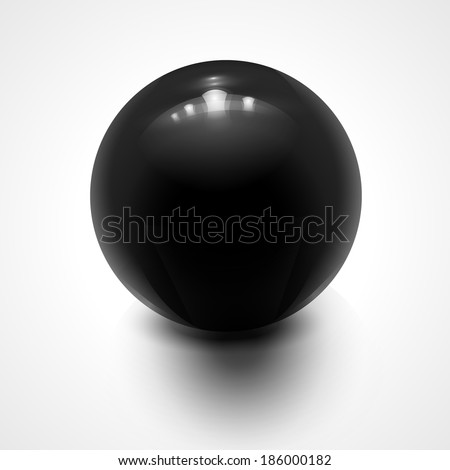 Black sphere isolated on white. Vector illustration for your design. - stock vector