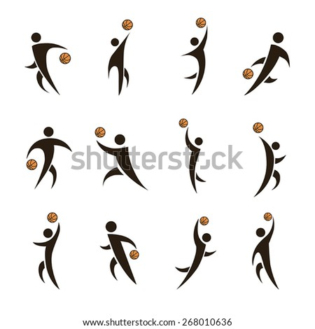 12 black vector icons of basketball with orange balls