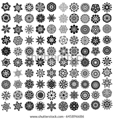 100 black vector ornaments over white background