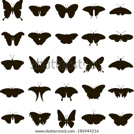 25 black vector silhouette butterfly on white background - stock vector