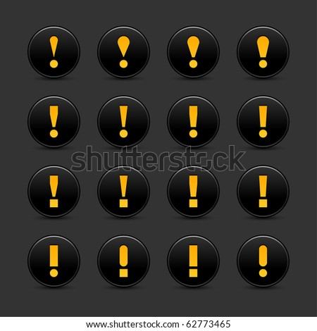 16 black web 2.0 button warning attention sign with exclamation mark. Smooth satined round shape with shadow on gray background - stock vector