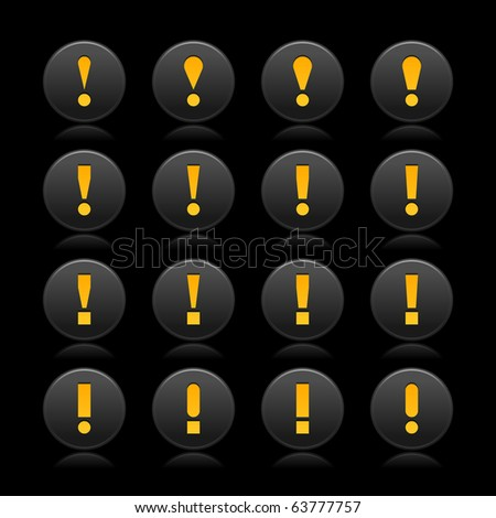 16 black web 2.0 button warning attention sign with exclamation mark. Smooth satined round shape with reflection on black background - stock vector